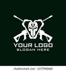 Tactical military Skull armory squadrone team in shield with gun rifle weapon logo template