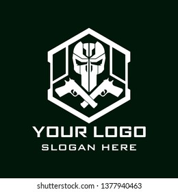 Tactical military Skull design armory squadrone team in shield with gun rifle weapon logo template