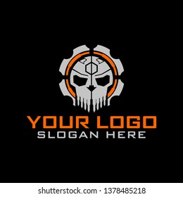 Tactical military Skull Gear design armory squadrone team in shield logo template