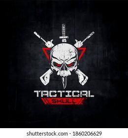 tactical skull logo, skull gun.