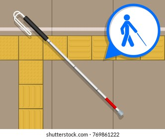 Tactile Paving Assist Blind People visually Impaired Indicator Guide Navigate Direction Sign on Ground Floor Surface Alert Warning Cross Street Road Footpath Route Pedestrian Rail Station Platform