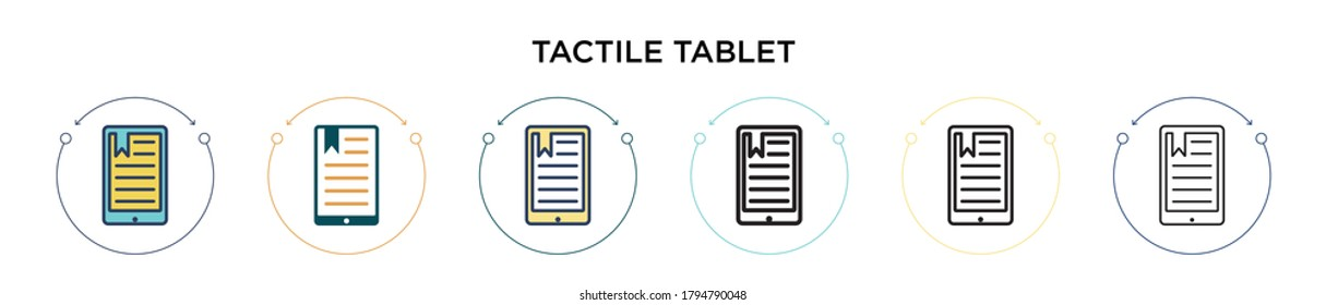 Tactile tablet icon in filled, thin line, outline and stroke style. Vector illustration of two colored and black tactile tablet vector icons designs can be used for mobile, ui, web