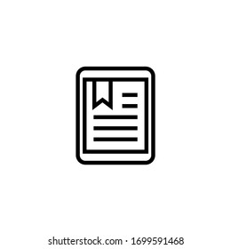 Tactile tablet  vector icon in linear, outline icon isolated on white background