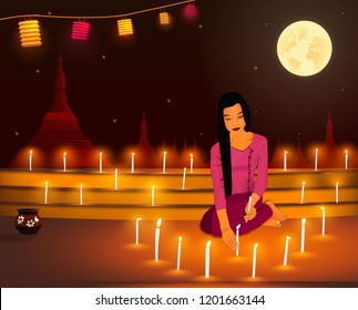Tadingyut Festival, The lightning Festival of Myanmar, Full moon day of Burmese Luna Month of Tadingyut,