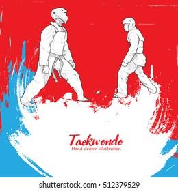Taekwondo background Design. Hand drawn.