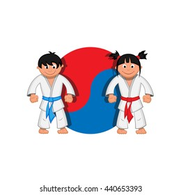 Taekwondo boy and girl