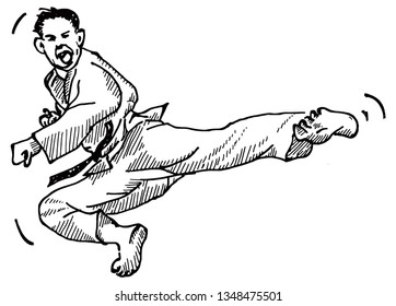A TaeKwonDo fighter doing a flying-kick. Hand drawn vector illustration.