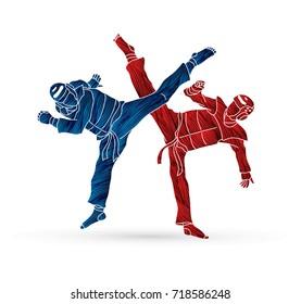 Taekwondo fighting designed using grunge brush graphic vector.