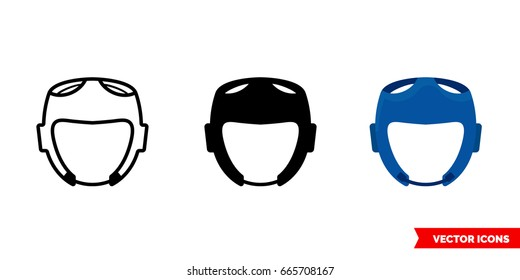 Taekwondo helmet icon of 3 types: color, black and white, outline. Isolated vector sign symbol.