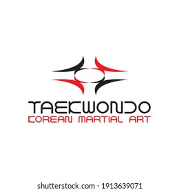 TAEKWONDO Korean martial art school logo design vector