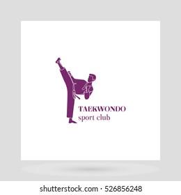 Taekwondo sport club logo design presentation on white. Vector illustration