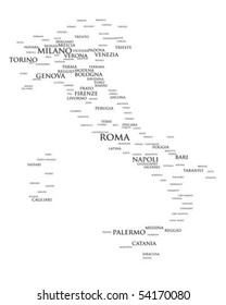 Tag cloud - Italy's larger cities
