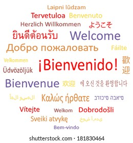 """Tag cloud: """"Welcome"""" in different languages. Vector illustration."""
