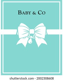 Tag, Coaster, Background, banner, sign, giftbox. Printable template for baby shower party. tiffany blue ribbon pattern. Classic elegant style