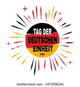 Tag der Deutschen Einheit lettering Day of German Unity translate vector illustration