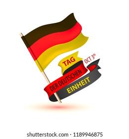Tag der Deutschen Einheit. Oktober 3. Inscription in German: Day of german unity. Vector greeting card