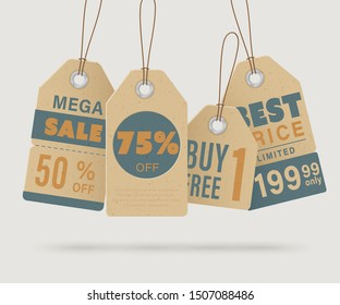 Tag design for show price or discount labels and hang on product. Set of vintage kraft paper style tags sale collection.Vector EPS.