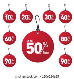 tag discount up to 10% until 90% all item with circle shape in red color