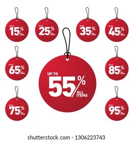 tag discount up to 15% until 95% all item with circle shape in red color