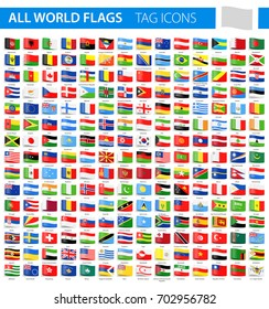 Tag Flag Icons - All World Vector illustration