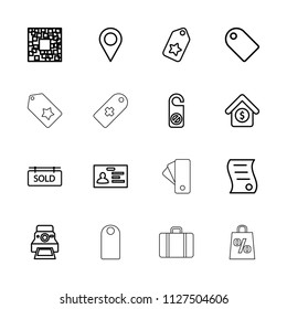 Tag icon. collection of 16 tag outline icons such as do not disturb, badge, location, qr code, camera printing photo, house sale. editable tag icons for web and mobile.