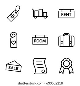 Tag icons set. set of 9 tag outline icons such as luggage, ribbon, bill of house sell
