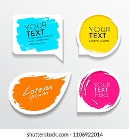 Tag label brush stroke colorful shapes collections background, vector illustration
