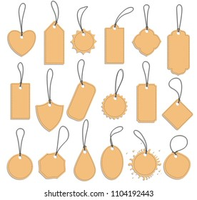 tag label set, blank vintage paper tags, flat vector leather labels on white background