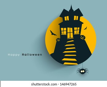 Tag, label or sticker with haunted house for Halloween party background.