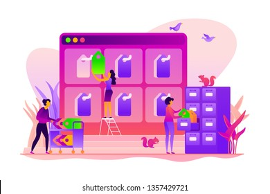 Tag management system, e-marketing tagging tool, tag data collection and web analytics concept. Vector isolated concept illustration with tiny people and floral elements. Hero image for website.