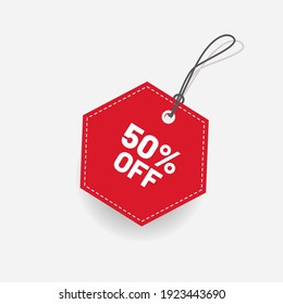 Tag Red Discount 50 Off Label Vector
