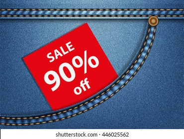 Tag SALE 90% in a blue denim pocket. Useful for a clothing store promo advertising. Vector illustration