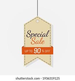 Tag sale discount label 90 off Vector