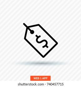 Tag sale line vector icon