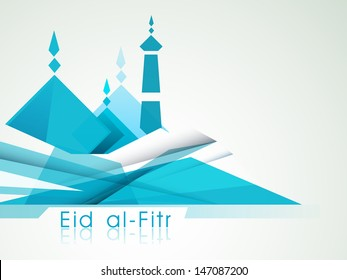 Tag, sticker or label design with arabic Islamic calligraphy of text Eid Muabark on shiny blue background.