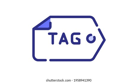 tag tagging seo keyword single isolated icon with dash or dashed line style