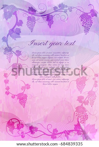 tag template pink grapes vines stock vector royalty free 684839335