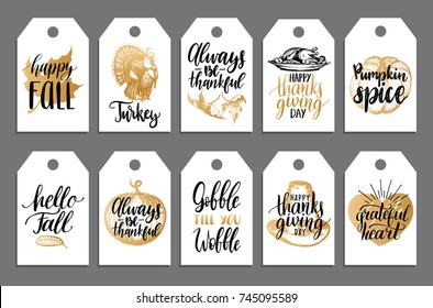 Tags with lettering and illustrations for Thanksgiving Day. Vector drawn and  handwritten labels of Gobble Till You Wobble, Happy Fall etc.