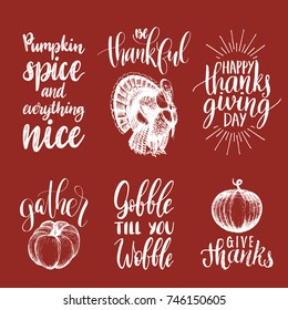 Tags with lettering and illustrations for Thanksgiving Day. Vector drawn and  handwritten labels of Gobble Till You Wobble, Pumpkin Spice etc.