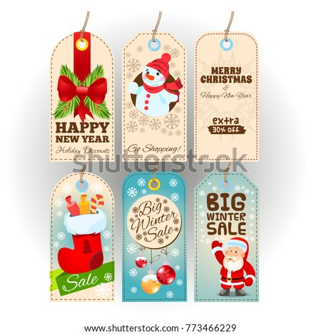 tags with new year and christmas themes festive decor
