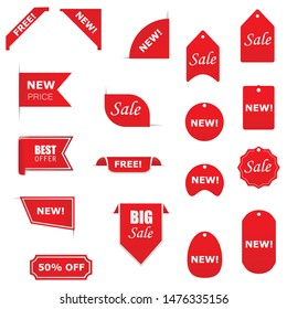 Tags set. Vector badges and labels isolated. Labels for banners and posters design.