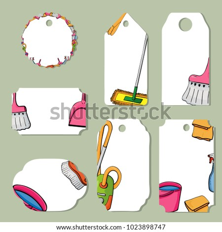 tags spring tools cleaning templates announcements stock vector