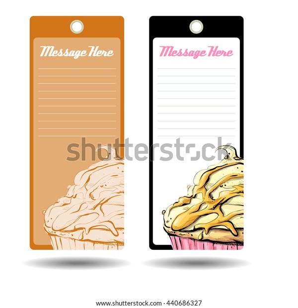 Tags with tasty cupcake. Vector illustration.