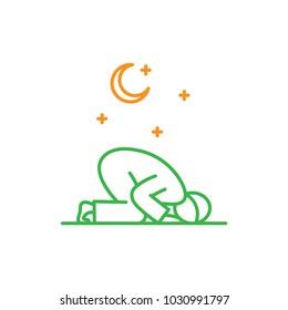 Tahajud Sujud Muslim praying at the night time. Simple monoline icon style for muslim ramadan and eid al fitr celebration.