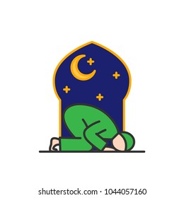 Tahajud Sujud Muslim praying at the night time in the mosque. Simple monoline icon style for muslim ramadan and eid al fitr celebration.