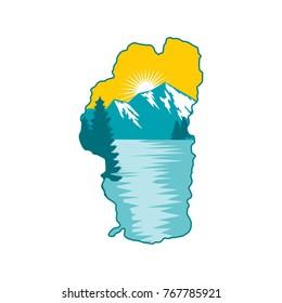 Tahoe Lake Logo, Nature Logo, Lake View Logo