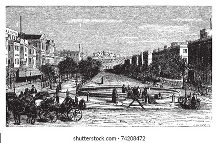 Tahrir Square (formerly Mohammed Ali Square and Place des Consuls), in Alexandria, Egypt. Scenic engraving. Old engraved illustration, around 1890.