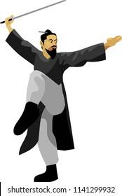 Tai Chi Sword Martial Art Vector Illustration
