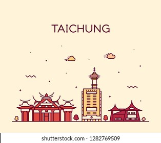 Taichung City skyline, Taiwan. Trendy vector illustration, linear style