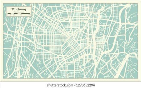 Taichung Taiwan City Map in Retro Style. Outline Map. Vector Illustration.